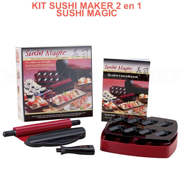 Sushi Magic Kit 2 en 1 roller maki et moule nigiri