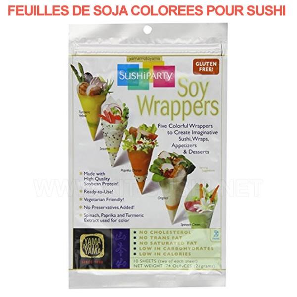 Pack de 10 feuilles de soja colorées pour sushi Yamamotoyama